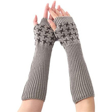 2017 Women Knitted Arm Sleeve Fingerless Winter Gloves Mitten