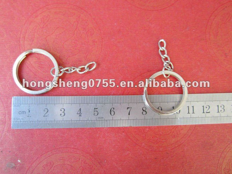 factory supply simple metal key ring with chain keychain