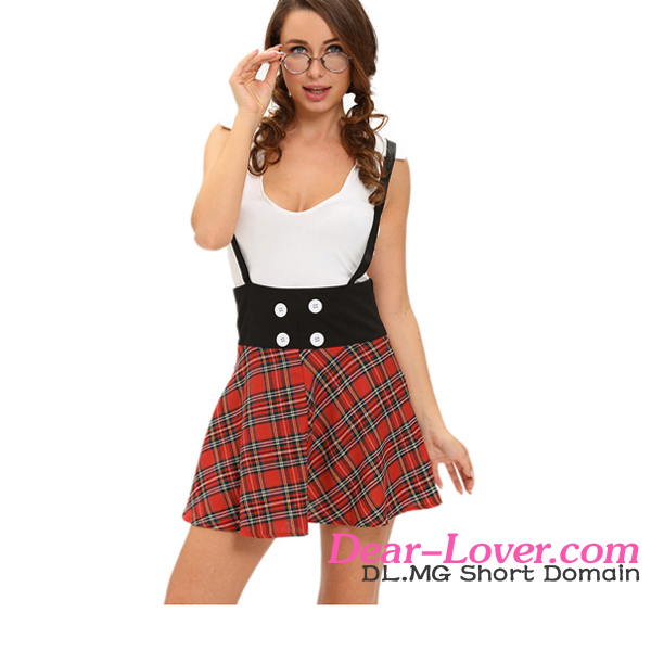 Cheap Sexy Japan Naughty School Girl 2pcs Suspending Skirt Costume
