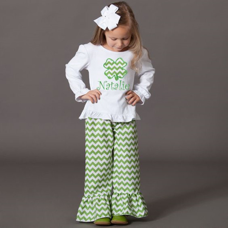 Baby Girls Shamrock Ruffle Raglan Shirt Matching Icing Pants Outfit St Patrick's Day Clothing Set