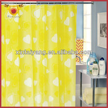 Yellow Love Heart Printed Bath Drapes PEVA Folding Window Curtain
