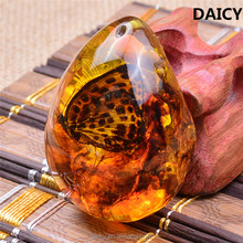 DAICY fashion cheap yellow teardrop insect specimen amber pendant