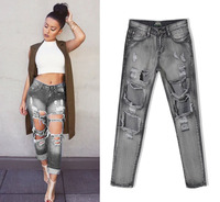 W0827 2016 Hot Sale New Fashion Women Casual High Waist Torn Jeans Hole Knee Skinny Pencil Pants Denim Ripped Jeans For Womens