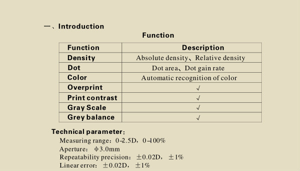 RD-310A Reflect Densitometer read the dot gain and test the density of the printer paper