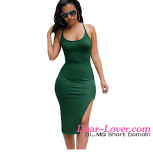 Army Green Crisscross Back Side Slit Fitted Slip Different Types Of Dresses