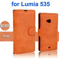 Retro Style Frosted PU Wallet Leather Flip Cover for Mircrosoft Lumia 535