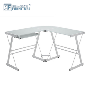 Mail order packing L-Shaped Computer Desk in White Finish ,Glass metal computer desk