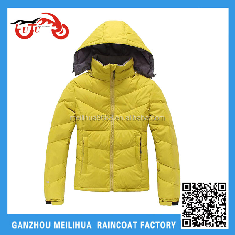Yellow 190T nylon cheap promotional factory outlets warm ski wear