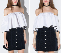 new fashion womens top designs T/C off shoulder crinkle short sleeve blouse