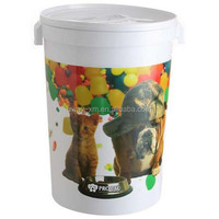 Customized logo printing 15kg dog food container with two handle