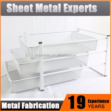 White Coated Wire and Mesh Storage Basket Shelf Bathroom Cabinet