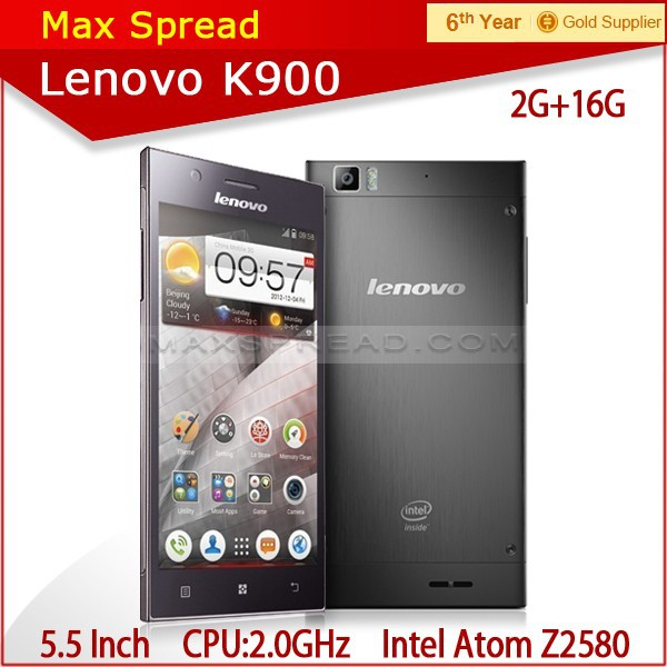 100% New Original Lenovo K900 phone Russian smartphone dual core 2GHZ 16GB /32GB Intel z2580 CPU 5.5 inch 1080P Screen