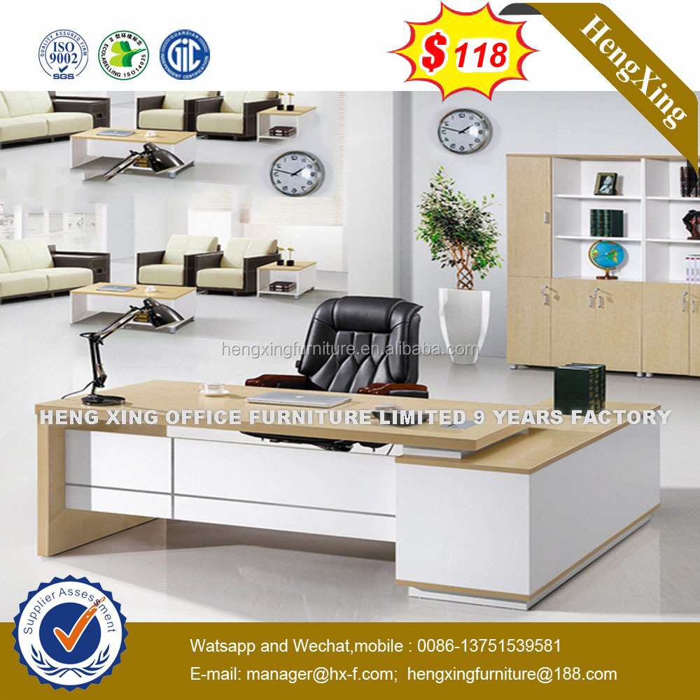 China High quality L shape Office Furniture <strong>Oak</strong> Wooden Executive Desk UL-MFC467
