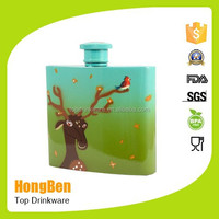Free custom stainless steel full colorful hip flask with water transfer printing