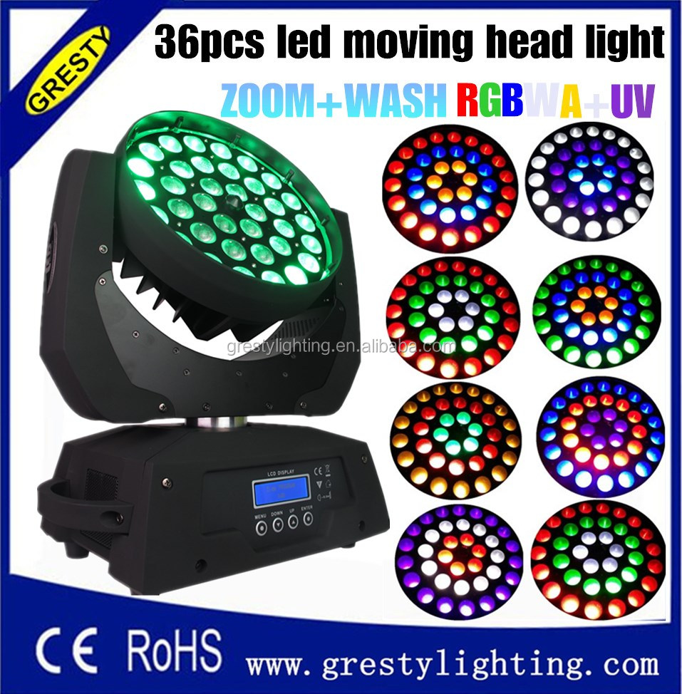 2017 led wash 36pcs moving head light RGBWA + UV 6 in 1 stage light,moving head light