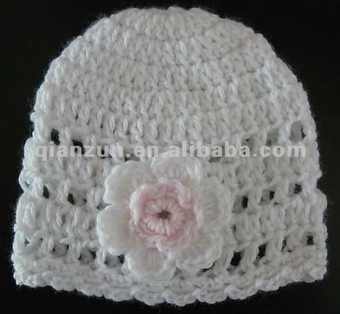 Newborn Baby Infant Girl Doll Warm Hat Cap Beanie Bonnet Crochet Knit White