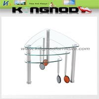 Folding clear tempered glass, and stainless steel glass coffee table wheels