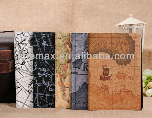 Map Style Travel Flip Case Cover Stand Pouch for Apple iPad Mini