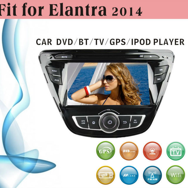 2 din car dvd player tv antenna fit for Hyundai Elantra 2014 without external frame with radio bluetooth gps tv