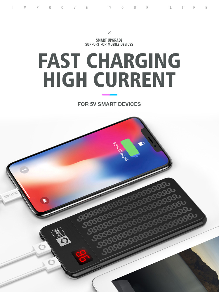 Hot sale 10000mah OEM portable fast charging  power bank black 5V 2.1A power bank with oled display