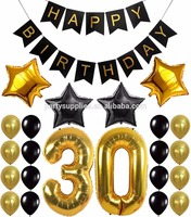 "30th Happy Birthday Party Balloons Supplies Decorations Large 30 Years Foil Balloon 12"" Gold White and Black Latex Balloon Decor"
