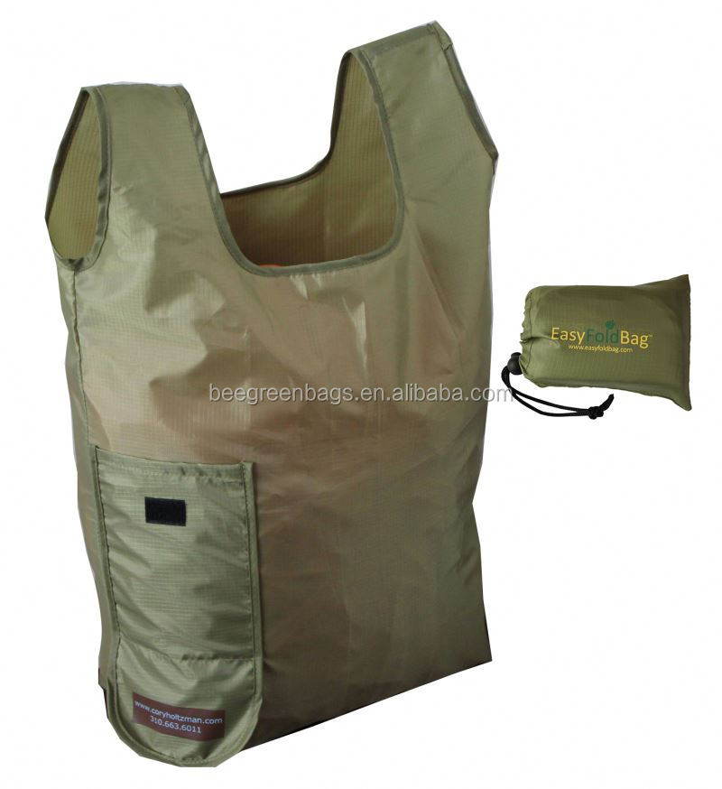 Eco 190T Polyester pet shopping bag with velcro pocket