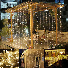 LED Window Curtain Icicle Lights, 306 LED, 9.8ft x 9.8ft, String Fairy Light