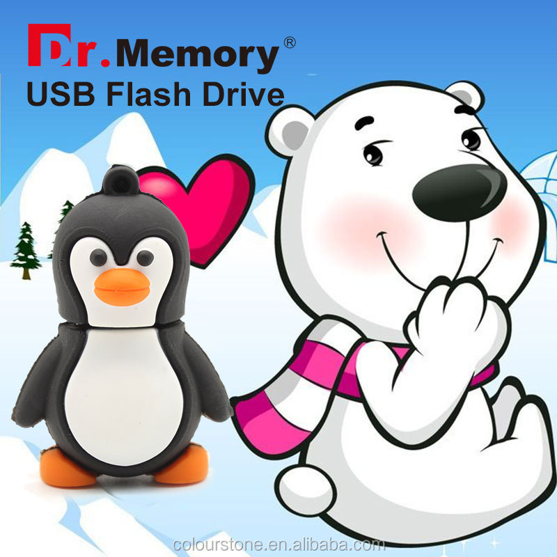 Dr.memory new products 2016 penguin cute usb flash drive 2.0 with download/upload function,silicone usb gedget 1-64gb