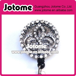 Silver Fleur De Lis Rhinestone ID badge holder retractable reel