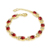 Custom fashion lazada red gemstone gold chain jewelry 18k gold bracelet