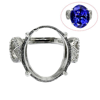 Beadsnice ID30636 couples 925 silver setting adjustable US size 7 to 9 16.8x14.5x2.5mm sold by PC pad ring base