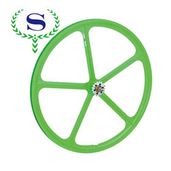 YSW green 5 spokes fixie bicycle wheel rims