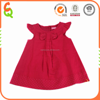2016 new fashion design printed dots sleeveless girl party dress in red color
