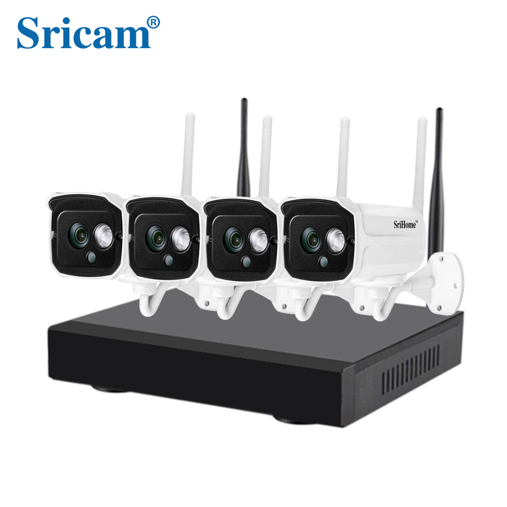 Sricam NVS001 1080P HD Four Channel Wifi Security IP Camera NVR Kit Power Supply P2P CCTV IP Camera