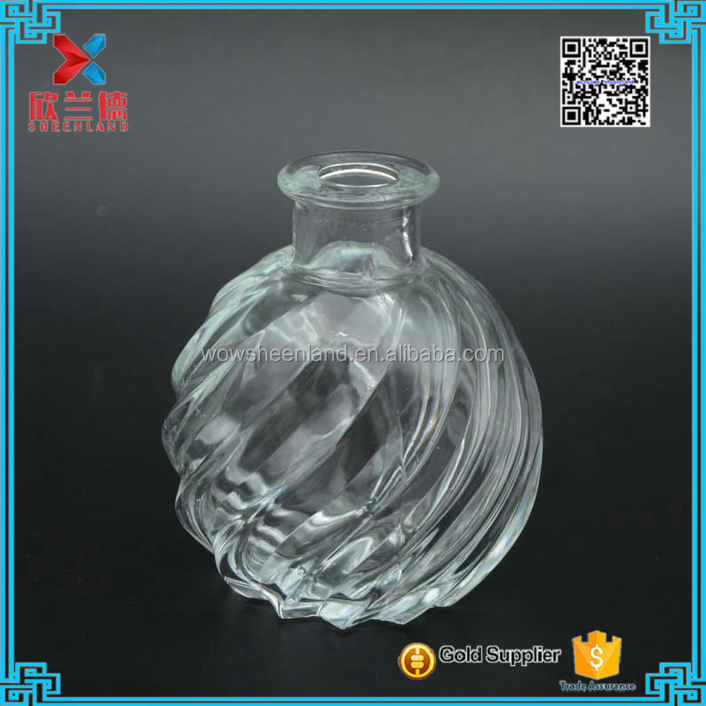 high quality 120ml stripe pumpkin shape decorative glass bottle reed diffuser with cork