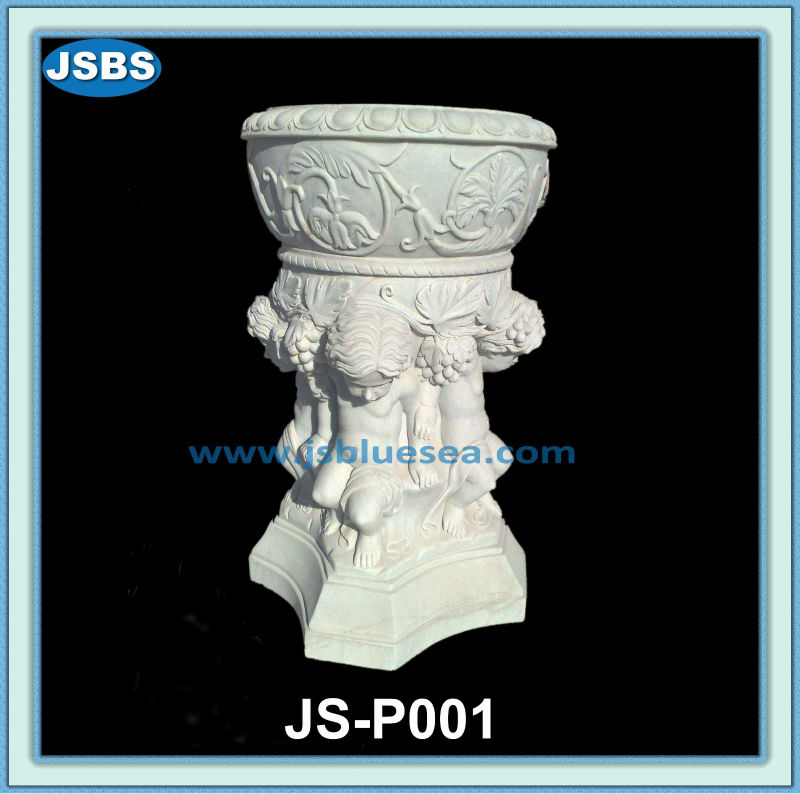 Outdoor Deorative Garden Natural Stone Flower Pot With Child