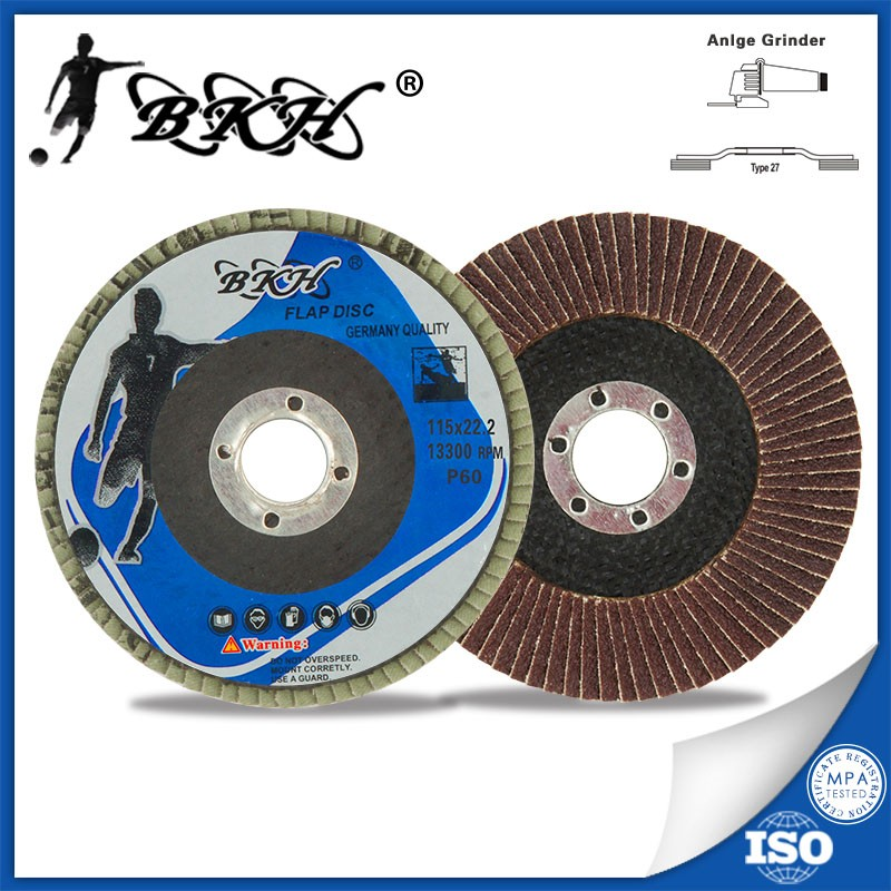 "4 1/2"" 115x22mm T27 aluminum oxide coated abrasive flap disc for Metal"
