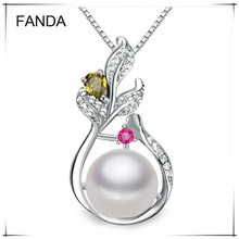 2016 Fashion Necklace Pearl Jewelry 9-10mm Natural Freshwater Cultured Pearls 925 Silver Jewelry Pendants For Women Gift Party