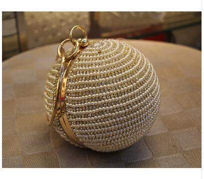 Women's Pearl Boll Evening Bag Round Ball Pearl Beaded Clutch Purse Mini Handbags Full Pearl Wedding Party Bags