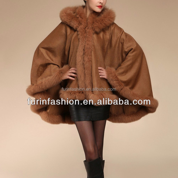 2017/2018 Hot Sell Girls Cashmere and fox fur trim cape