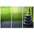 Still Life Bamboo Canvas Painting/Living Room Stone Scenery Canvas Print/Stone and Bamboo Canvas Printing 3 Panel