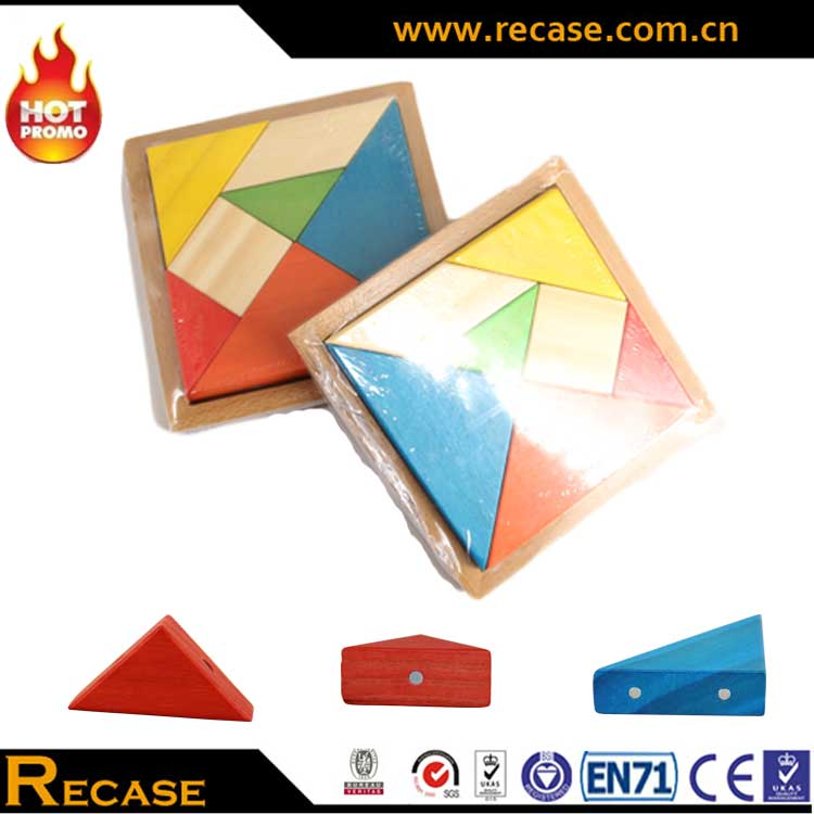 Tangram Puzzles , Hot Sales Promotion Education Toy Magnetic Tangram Jigsaw , IQ Puzzle Game Wooden