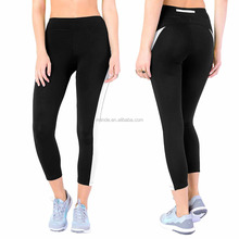 100% Cotton Gym Sport Tights Women Color Block Printed Capri Work Out Yoga Leggings Wholesale Dri Fit Running Tights With Pocket