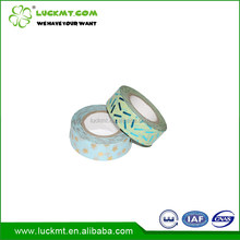 Decorative Use Gold Stamping Aqua Green Washi Paper Tape