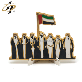 Shuanghua supply UAE national day gift 24k gold metal stand medal