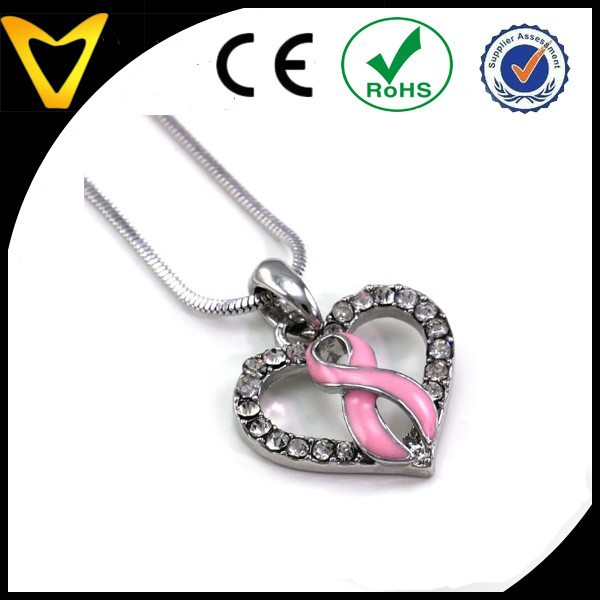 Wholesale Quality Light Pink Ribbon Breast Cancer Awareness Heart Charm Pendant Necklace Pink Rhinestones Jewelry