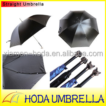 Super Light Animal Owl and Fox Satin Straight Umbrella with Black coated both for Rain and Sun