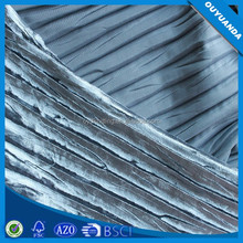 Shiny Strip Iced Crushed Polyester Stretch Silver Drapery Fabric for Dress