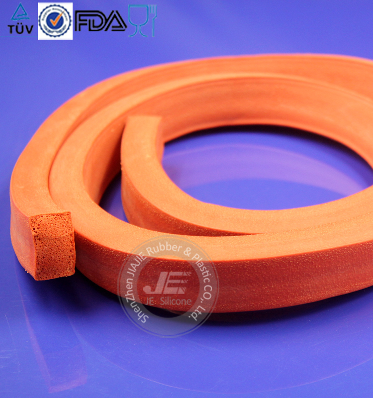 Red silicone foam strip supplier Sponge silicone strip close cell silicone sponge tube