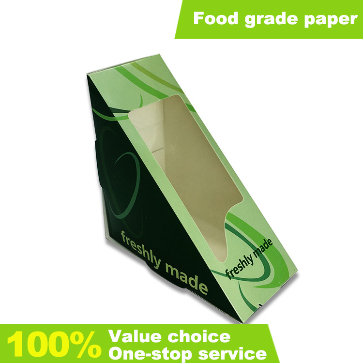 Custom Food Grade Paper Triangle Sandwich Box With Clear Window